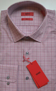 NWT HUGO Red Label By Hugo Boss Sharp Fit Checked Dress Shirt Size 16 34/35