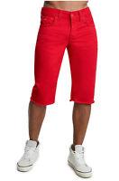 True Religion Men's Straight Leg Big T Cut-Off Jean Shorts in Ruby Red