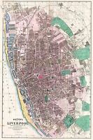 MAP ANTIQUE 1890 BACON LIVERPOOL CITY PLAN OLD LARGE REPRO POSTER PRINT PAM0369