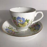 Vintage Crownford Fine Bone China Tea Cup & Saucer Floral Design-England