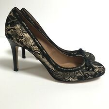NEW Ann Taylor 6 Abbey Lace Pump Heels Black Round Toe Slip On MSRP $178 NWT