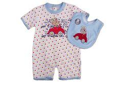 BNWT Baby boys summer bunny cotton romper & bib clothes 0-3 mths 3-6 months