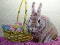 Watercolor Painting Easter Bunny Rabbit Hare Egg Wicker Basket ACEO Art