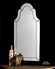 Contemporary Glass Frame Arch Wall Mirror | Frameless Shaped Vanity