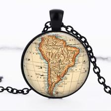 South America Vintage Map Black Glass Cabochon Necklace chain Pendant Wholesale
