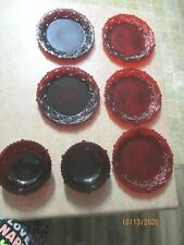 vintage Avon red dishes x 7 pieces 5 plates 2 bowls