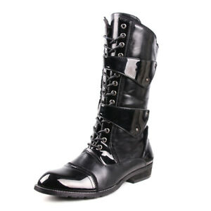 Mens Patent Leather Patchwork Pointed Toe Shoes Lace Up Knee High Riding Booties