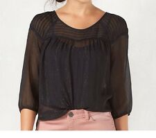 LC Lauren Conrad Women Black Pintuck Peasant Top Blouse 3/4 Sleeve Sz Large NWT