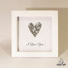 Sequin Heart Personalised Quote Picture Frame Silver