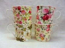 Set of 4 shabby chic floral china palace mugs