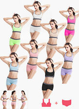 Super Comfort gym yoga running sports padded bra & shorts set UK Stock