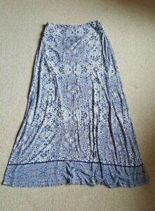 Womens Skirt-CYNTHIA ROWLEY-white/blue/navy patterned rayon stretch knit maxi-L