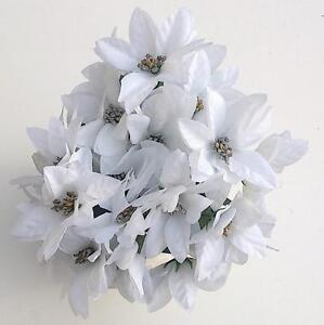 3 x WHITE & SILVER POINSETTIA BUNCHES ARTIFICIAL FAUX SILK FLOWERS