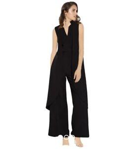 Mossman sz 10 black cape jumpsuit pantsuit overall suit work party smart casual
