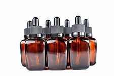 1oz (30ml) Amber Glass Bottle Dropper Square with Glass eye dropper Pack of 12