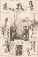 New York Firemen. Civil Service Exam. Large Antique Woodcut. 1886.