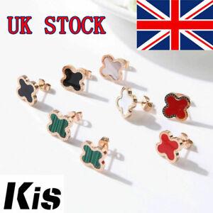 Female Classic Four-leaf Clover Titanium Steel Earrings Jewelry Trend Retro