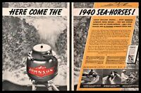 1940 JOHNSON Sea-Horse Outboard Motor Vintage 2-page AD