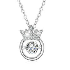 Halskette mit Anhänger Krone Dancing Stone echt Sterling Silber 925 Zirkonia