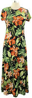 ATTITUDES by Renee size PXS black tropics stretch knit short sleeve maxi dress