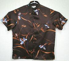 Tori Richard Vintage Mens Hawaiian Brown Floral Button Up Shirt Size Large EUC