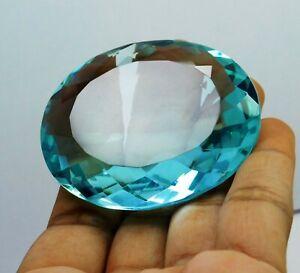 244.65 Ct Natural Brazil Aquamarine Ocean Blue Oval Cut Loose Gemstone S-6716