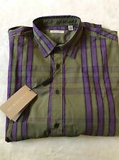 New Authentic Burberry Nova Check Plaid Olive Green Purple Men Shirt XXL $250