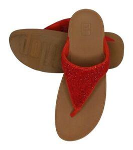 FitFlop Lottie Women's Sandals Sz 10 M Shimmer Crystal Red 674155