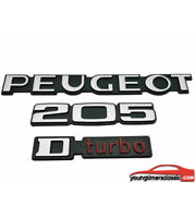 Kit de 3 monogrammes : Peugeot + 205 + Dturbo