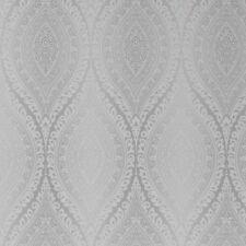 Grandeco Kismet Damask Silver Textured Vinyl Wallpaper Metallic Glitter A17703