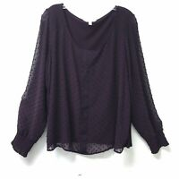 Lauren Conrad Burgundy Long Sleeve Womans Blouse Top Sz XXL Chenille Dots