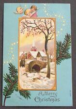Angel Faces Wings Sky Pretty Winter Scene Church Bridge Stars Christmas pc 1908
