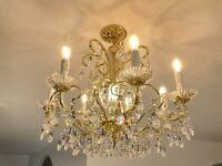 "Schonbek Antique Vintage 8 Light 7 Arm Crystal Chandelier Cascade Gold 22""x 23"""