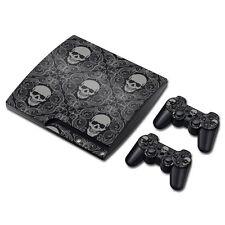 PS3 Slim Playstation 3 Console Skin Decal Sticker Skull Gray Custom Design Set