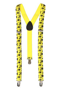 Star 3 Clip Stretchable Suspender,  Yellow