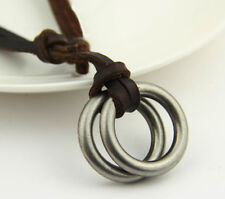 Brown Punk Genuine Leather Necklace Circle Ring Charm Pendant Cord For Men Women