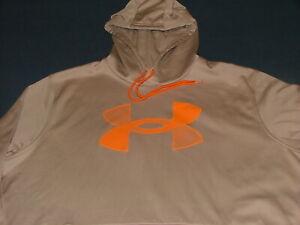 Men's Under Armour Cold Gear Loose Tan Long Sleeve Hoodie Sweatshirt w/Logo XL
