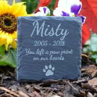 Memorial Plaque For Cat - Personalised Cats Grave Stone Square Slate Marker Gift