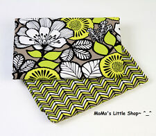 Beautiful Vera Bradley 100% Cotton Fabric (Citron) —— 2 Matching Fat Quarters