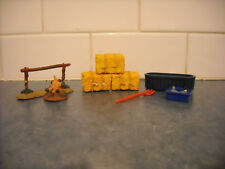LOT BREYER STABLEMATE TOY FARM ACCESSORIES HITCHING POST FIRE HAY BALES FORK ++