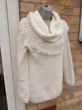 M&S PER UNA ladies womens cream lambswool angora top blouse size 12