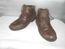 Men' Kenneth Cole Reaction When It Rain Brown Leather Ankle Fall Boots Size 11.5