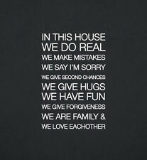 In This House We Do Real We Make Mistakes Family Removable Wall Vinyl Decal