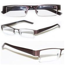 Reading Glasses BRUSHED METAL Top Only BRONZE Brown Frame Narrow Lens +2.00