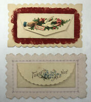 Victorian Calling Cards with Attached Hidden Name Envelopes Red Silk Fringe