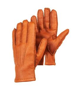 Peccary Leather Gloves Winter Gloves with cashmere lining for men's Cognac