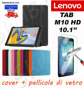COVER CUSTODIA LIBRO PELLE PER LENOVO TABLET TAB M10 HD TB-3606X 10.1'' + VETRO