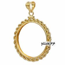 1/5th Isle of Man Cat Gold Filled Rope Coin Bezel Frame Mount Pendant