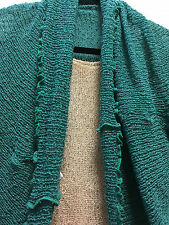 Lost River Top Blouse Butterfly 3+ way Beige Green Knit Gauze Shawl Hood Poncho