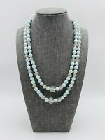 Vintage Faceted Lucite Clear Beaded Moon Glow Baby Blue Double Strand Necklace